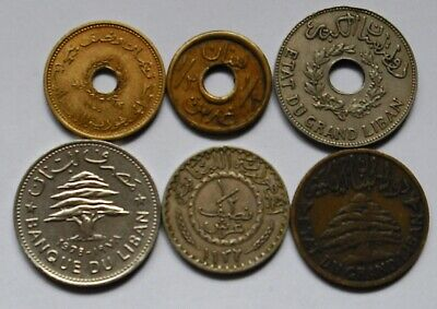 Lebanon, WWW1 Food coin,1924 Vintage 6 coins to 1953 Rare F/EXF !!