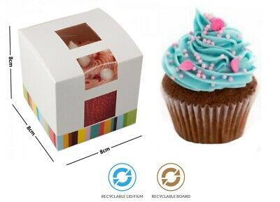 Hinged Lid Single Cupcake Bakery Box - Disposable Recyclable Cardboard Cases