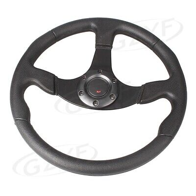 "14"" 350mm Universal Car Racing Steering Wheel with/ Horn Button Black Fit"
