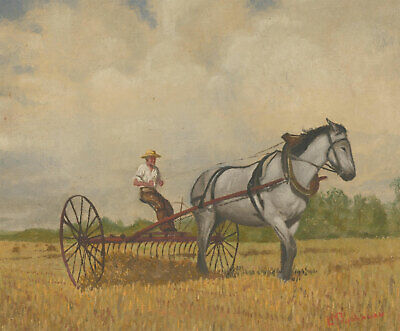 Laura Buchanan (1872-1969) - Signed Early 20th Century Oil, Farmer with a Horse