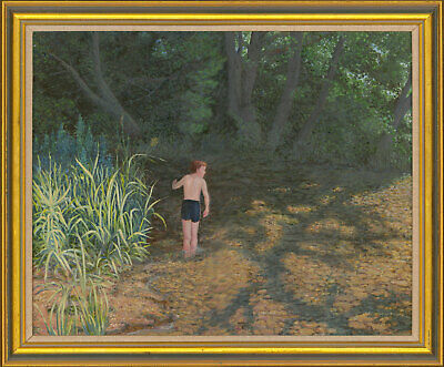 Mollie D. Poore - Signed & Framed Mid 20th Century Oil, Boy in Woodland Pool