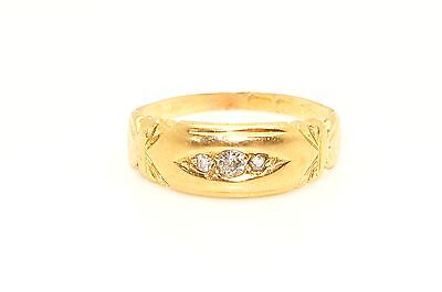 Stunning Antique Victorian 18ct Gold Trilogy Diamond Ring, Size L