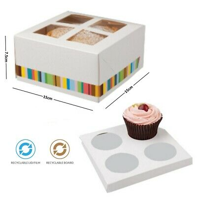 4 Cup Cupcake Cake Bakery Dessert Box & Insert - Disposable Recyclable Cardboard