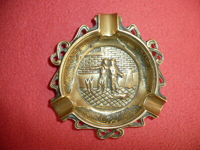 Vintage Ornate Cast Solid Brass/Bronze Dutch Ash-Tray,Embossed with ClassicScene
