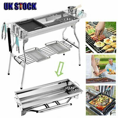 Large Portable Folding BBQ Charcoal Grill Portable Party Outdoor Barbecue Silver