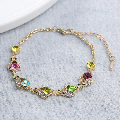 Austrian crystal gold ladybug bracelet jewelry women love gifts
