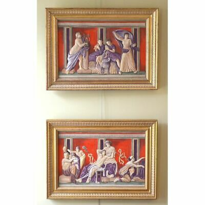 Pair of Boehm Framed Hand Painted Porcelain Relief Plaques Depicting Roman Sc...
