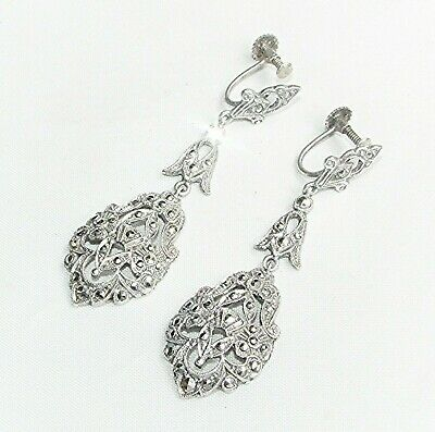 Vintage antique Art Deco solid silver long dangle marcasite screw back earrings