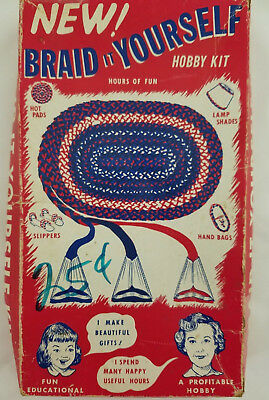 Vintage 1956 Nu Flex Braid it Yourself Rug Making Kit Original Box Instructions