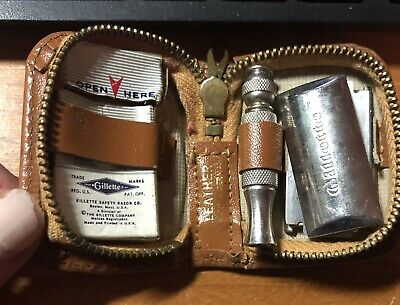 Vintage Gillette Razor In Leather Case