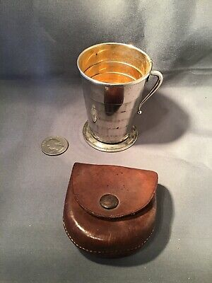 "Antique Vintage Collapsible Cup Silver Plated with Leather Case 3""H  Marked (R)"
