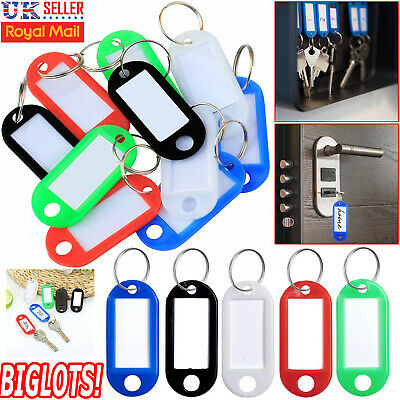 Key Tags Plastic ID Tags Name Label Key Ring Fob Tag Assorted Colours Plastic UK