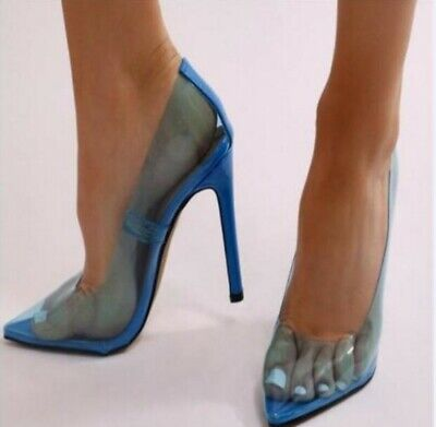 Womens Sexy Transparent Clear Pointed Toe High Heels Party Nightclub Shoes Club