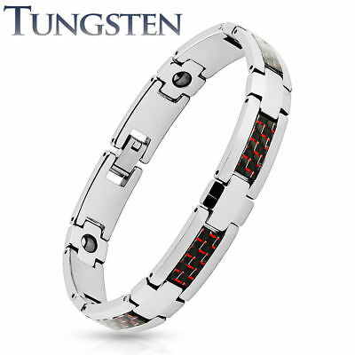 Silver Bracelet Red Black Tungsten Wolfram Carbon Inlay Length in mm: 200