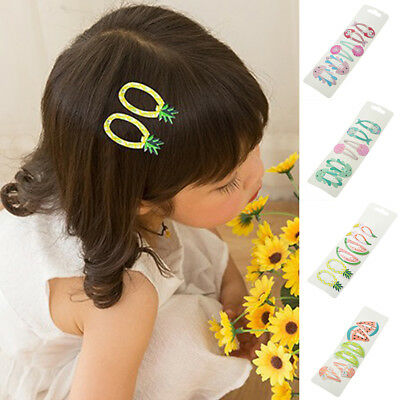 KQ_ KF_ 3Pairs Cute Baby Girls Mermaid Watermelon Ice Cream Hair Clips Set Hairp