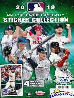 2019 Topps Baseball Stickers HUGE 44 Page Collectors Album-4 Bonus Stickers!
