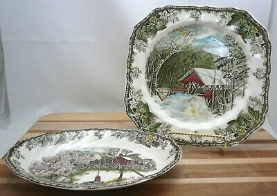 Johnson Brothers Friendly Village, Square Salad Plate & Oval Relish Dish ENGLAND