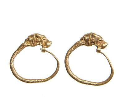 Set of Ancient Greek Lion terminal gold earrings: Circa 4th-3rd century BC.