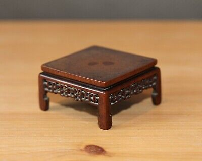 Antique Chinese carved boxwood display stand like a small table, Qing Dynasty.