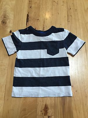 Boys Navy Blue White Striped Short Sleeve Shirt Top Cherokee Size 18 Months