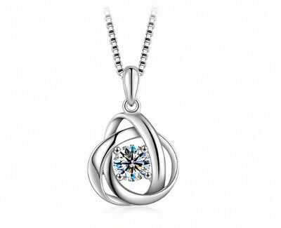 Swirl Crystal Stone Pendant Necklace 925 Sterling Silver Chain Womens Jewellery