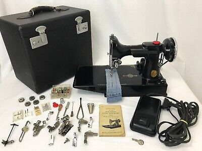 SERVICED Vtg Singer Featherweight 221-1 Quilters Sewing Machine Case Attachments