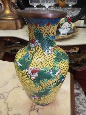Vintage Antique Chinese Yellow Cloisonne Vase W/Peony Floral Design Nr