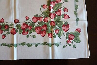 Vintage Supper Cloth Tablecloth Strawberries 90 x 84 Excellent
