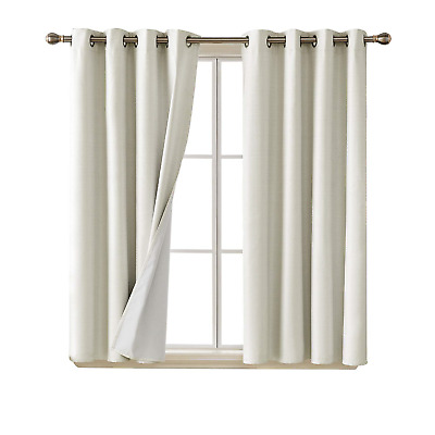 Deconovo 100 Blackout Curtains Faux Linen 3 Pass Coating Thermal Insulated Small Window Curtains For Bedroom,Light Chocolate Brown Hair Color With Caramel Highlights