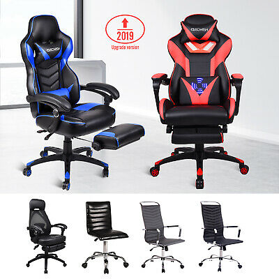 Racing Gaming Chair PU Leather Swivel Recliner Seat w/ Footrest Multi-choices