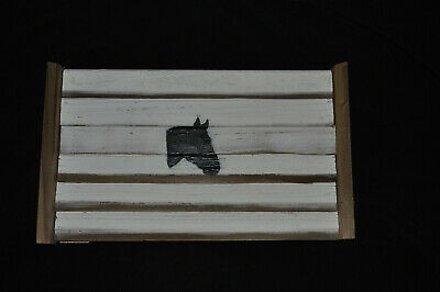 painted horse white and natural recycled wood handmade decorative wood tray