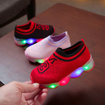 Child Kids Girls Light Up Shoes LED Flashing Trainers Casual Sneakers Infant