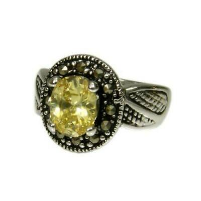 Genuine Marcasite Silver tone Ring With Oval Yellow CZ Center Stone and Antique