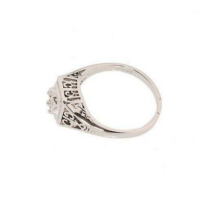 Rhodium Plated Dainty Cubic Zirconia Ring in Antique Style Setting that Looks To