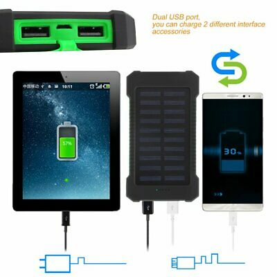 300000mAh Dual USB Solar Power Bank Mobile Phones External Battery Charger YW