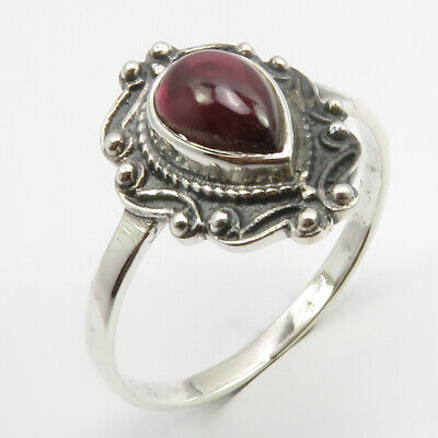 Sterling Silver Garnet Antique Look Ring Size 12 New Art Jewelry