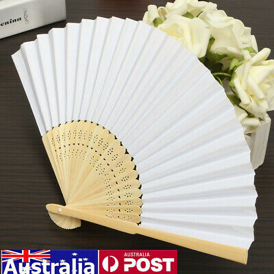 12Pcs Folding Hand Bamboo Paper Fans Pocket Fan Wedding Party Decor White AU