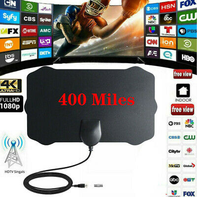 Antenna TV Digital HD 300 Mile Range Skywire Indoor 1080P 4K 16ft Coax Cable USA