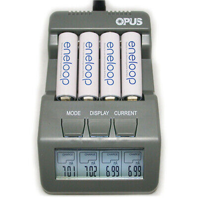 Opus BT-C700 4 Slot 12V LCD Battery Charger AA AAA NiCd NiMh Lithium Discharge