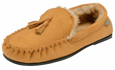 Mens British Designed Tan Faux Suede Moccasin Warm Soft Faux Fur Lined Slippers