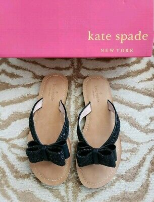 642f134429f229 NEW W BOX Kate Spade Peach Sherebert Shiny Flip Flops Sandals Bows ...
