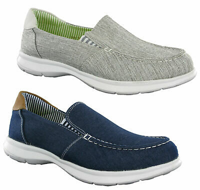 Heavenly Feet Womens Rider Memory Foam Lightweight Canvas Deck Boat Shoes Pumps