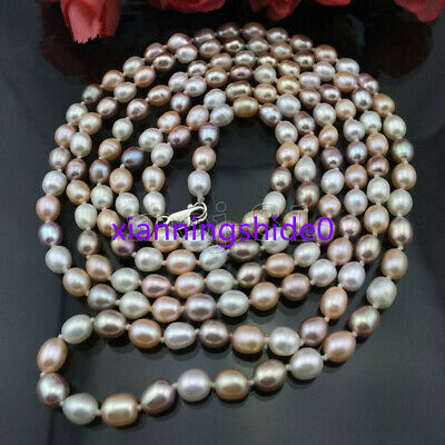Genuine 7-8MM Natural Multicolor Freshwater Cultured Pearl Necklace 36'' Long