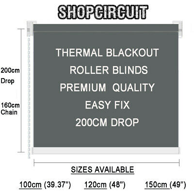 Premium Quality 100% Thermal Blackout Roller Blinds Long 200Cm Drop Easy Fix