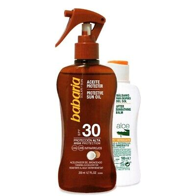 Pack Babaria Aceite Protector de Coco SPF30 - 200 ml + After Sun - 100 ml