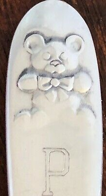 - Lunt Sterling Silver Baby Feeding Spoon: Teddy Bear Pattern Monogram P R