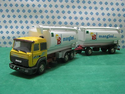 Camion Iveco Turbo Technologie Remorque Silos Fourrage MB -1/43 Old Voitures /