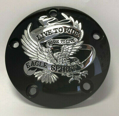 Black with Chrome Live To Ride Ignition Timing Timer Cover for Harley Twin Cam