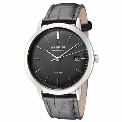 a80d9b7c4 Eterna Men's 2700.41.50.1383 Eternity 40mm Automatic Grey Dial Leather Watch