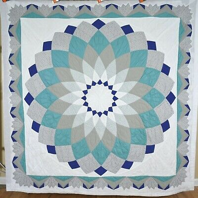OUTSTANDING Vintage Dahlia Antique DATED Quilt ~GREAT BORDER & NICE COLORS!